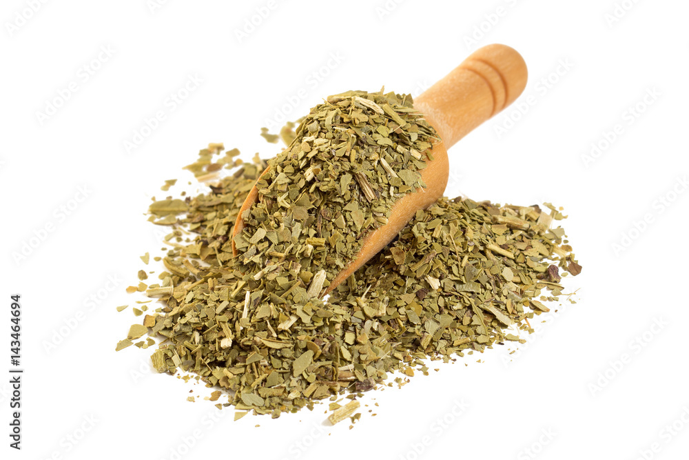 Fototapeta Yerba mate with a wooden spoon on isolate a white background