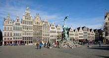 View On The Historical Grote Markt Of Antwerp, Belgium.