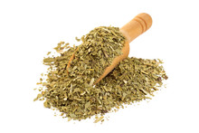 Yerba Mate With A Wooden Spoon On Isolate A White Background