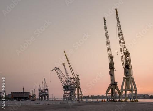 Poster Antwerp Old harbor cranes in the Antwerp district known as Eilandje