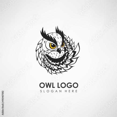 Canvas Prints Owls cartoon Owl concept logo template. Label for company or organization. Vector illustration