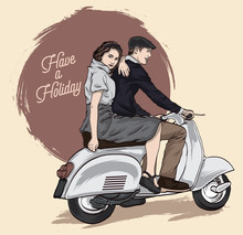 Couple On A Scooter. Happy Rid...