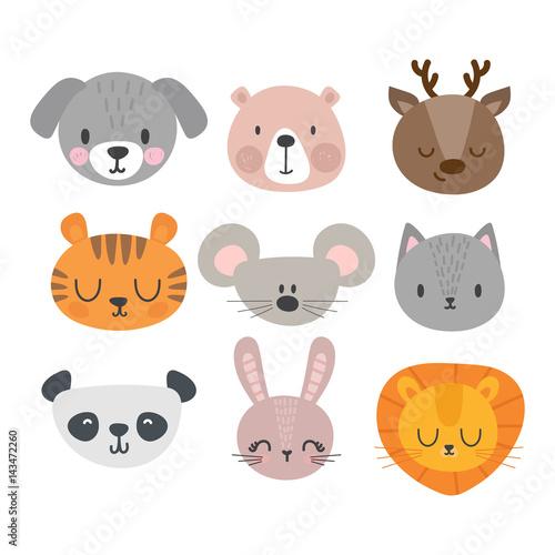 Set of cute hand drawn smiling animals  Cat, deer, panda