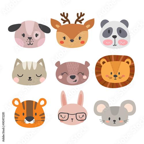 Set of cute hand drawn smiling animals  Cat, lion, panda