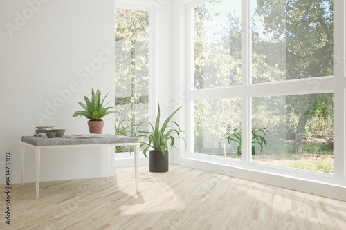 Poster Vegetal White empty room with green landscape in window. Scandinavian interior design. 3D illustration