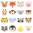 Vector illustration of animal faces, including deer, Fox,cat,pig,goat,monkey,Koala,owl,tiger,elephant,raccoon,bear,penguin,duck and dog.