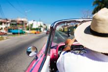 Man Drives On A Convertible Tour Of Old Havana In Havana, Cuba