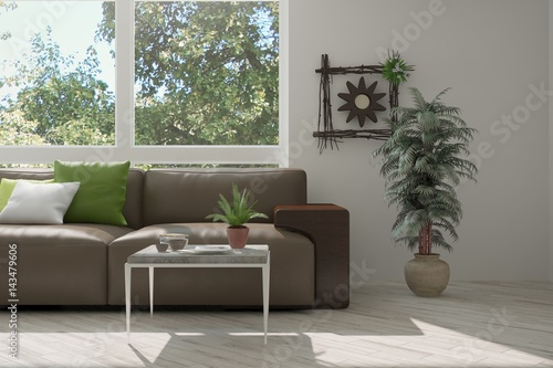 Fototapety, obrazy: White room with sofa and green landscape in window. Scandinavian interior design. 3D illustration