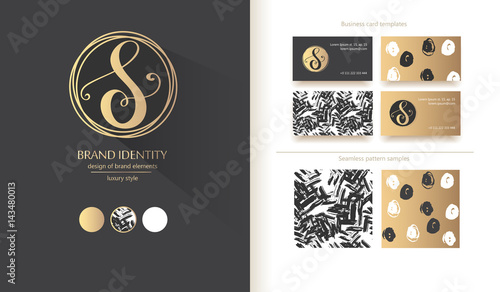 Fotografía  Luxury calligraphic letter S monogram - vector logo template