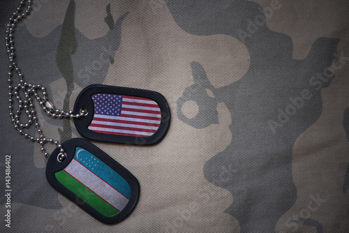 Fotografie, Tablou  army blank, dog tag with flag of united states of america and uzbekistan on the khaki texture background