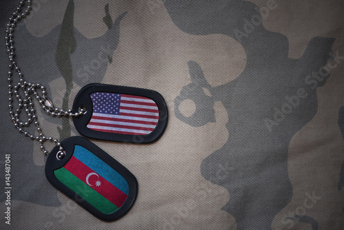 army blank, dog tag with flag of united states of america and azerbaijan on the khaki texture background Fototapet