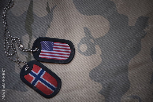 army blank, dog tag with flag of united states of america and norway on the khaki texture background Tablou Canvas