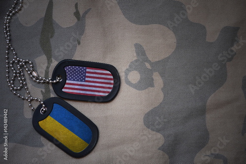 army blank, dog tag with flag of united states of america and ukraine on the khaki texture background Fototapet
