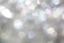 Glittering Festive Silver White Blank Blurry Bokeh Background