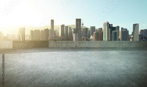 Fototapety, obrazy: Empty asphalt carpark with modern city skyline , morning sunrise scene .