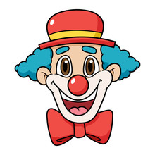 Cartoon Clown Face Vector Illu...