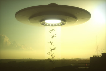 3D illustration. Concept of alien abduction. People levitating into the alien ship.
