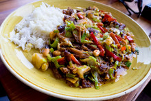 Mexican Hot Meat Salad Served With Rice