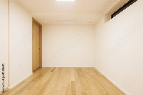White Empty Room With Wardrobe Window Door At The Night