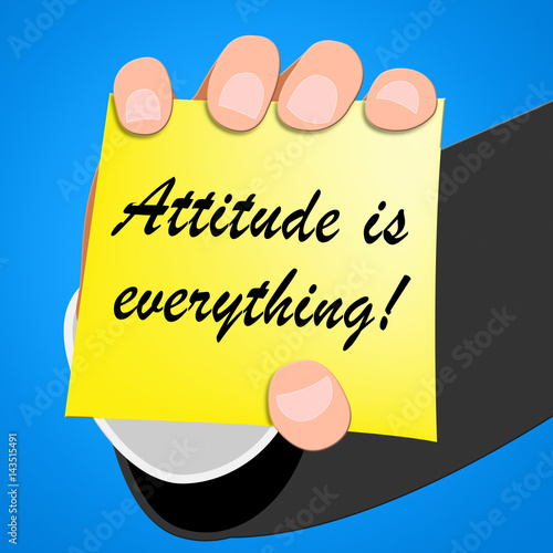 Attitude Is Everything Means Happy Positive 3d Illustration Fototapet