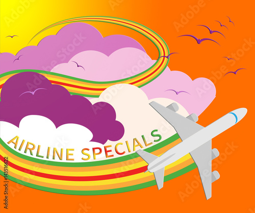 Airline Specials Means Airplane Promotion 3d Illustration Canvas Print