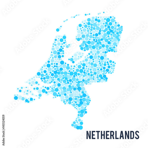 Photo Vector dotted colorful map of Netherlands isolated on a white background