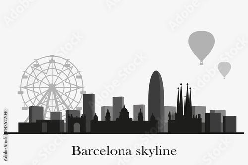 Barcelona skyline vector silhouette. Black and white cityscape. Canvas Print