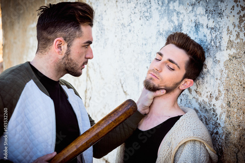 Obraz na plátně  Homophobic man threatens gay guy