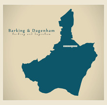 Modern Map - Barking And Dagenham Borough Greater London UK England