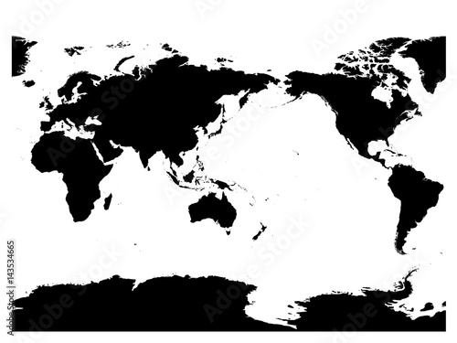Australia and pacific ocean centered world map high detail black australia and pacific ocean centered world map high detail black silhouette on white background gumiabroncs Gallery