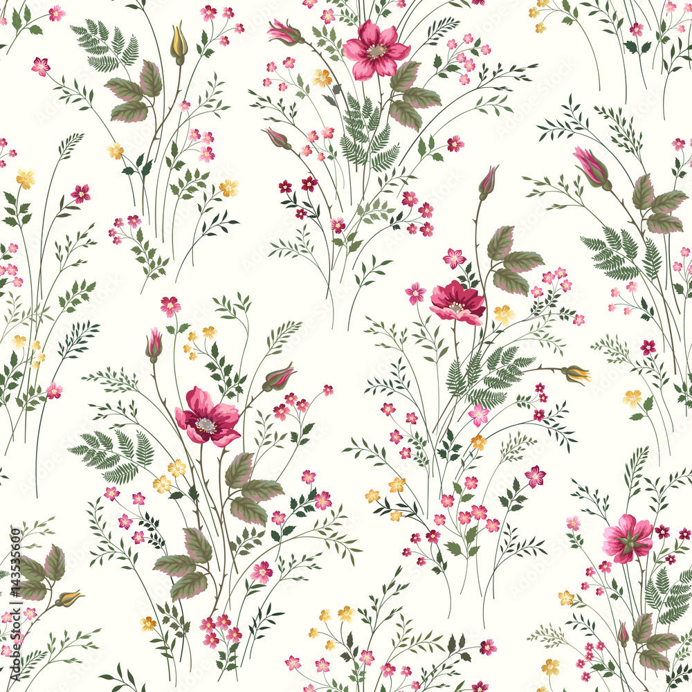 kwiatowy wzór z róż i kwiatów łąka