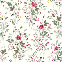 Seamless Floral Pattern With Roses And Meadow Flowers