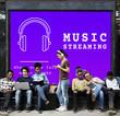 canvas print picture - Music Audio Headphones Sign Symbol