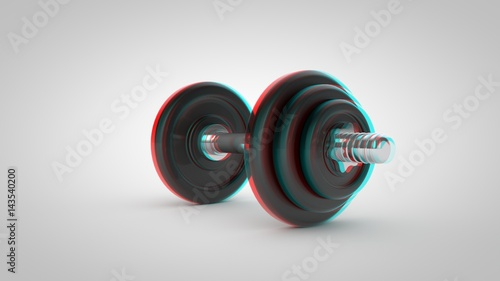 Stereoscopic dumbbell isolated on white background Canvas Print