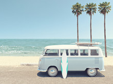 Retro Summer At The Beach. 3d ...