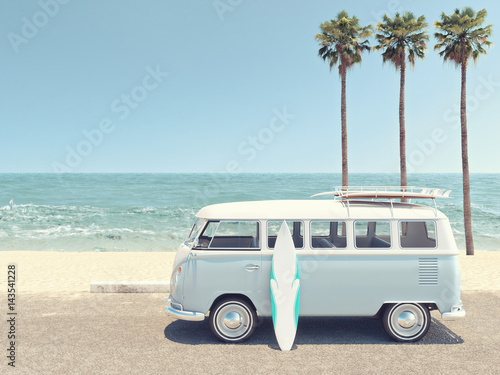 retro summer at the beach. 3d rendering Wallpaper Mural