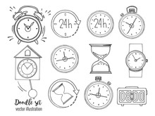 Set Of Doodle Sketch Watches. ...