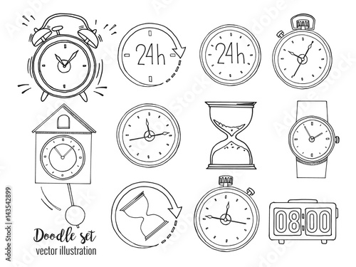 set of doodle sketch watches alarm clocks sand glasses stop watch Cartoon Clock set of doodle sketch watches alarm clocks sand glasses stop watch and