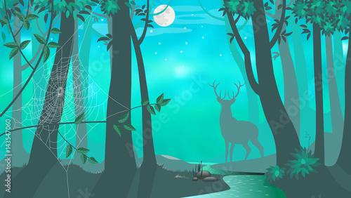 Spoed Foto op Canvas Turkoois Deer. Night. Forest. Vector