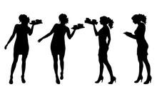 Vector Silhouette Of Waitres O...