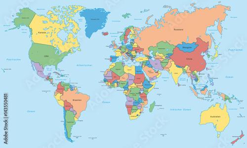 Weltkarte Einzelne Lander In Farbe Hoher Detailgrad Buy This