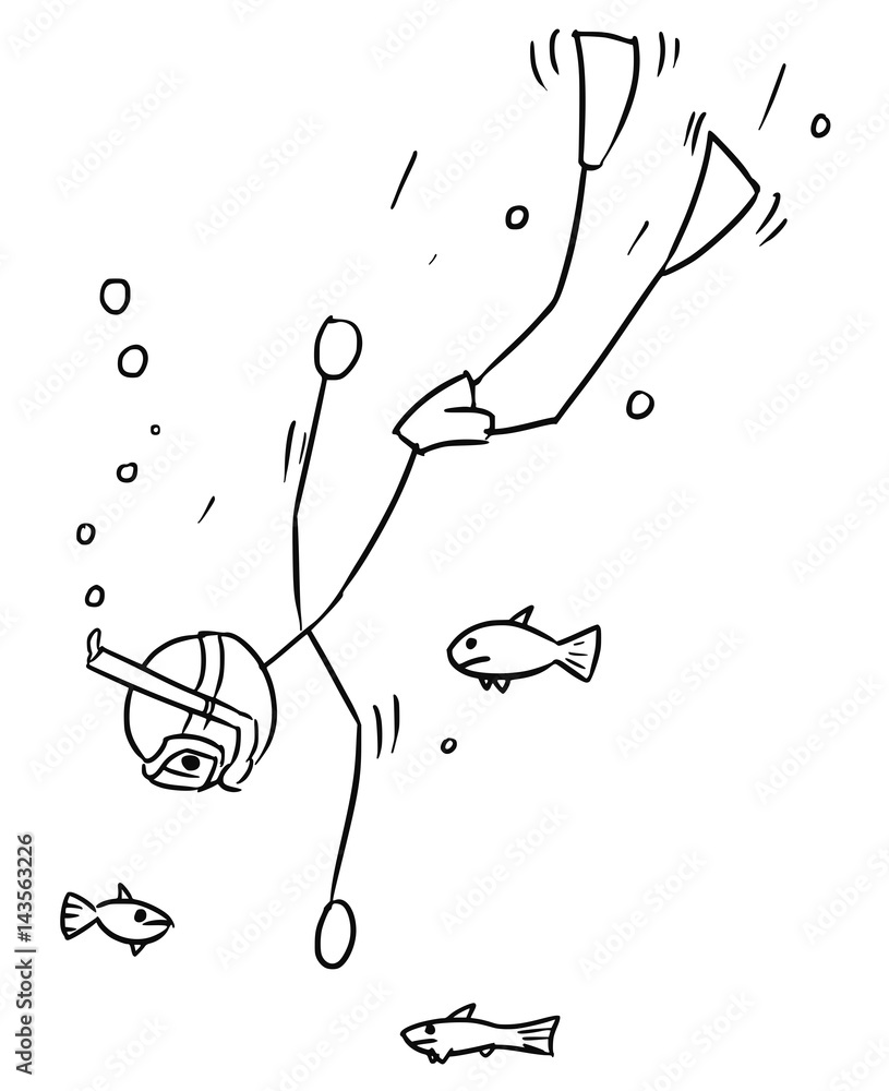 Cartoon Vector Stick Man Free Diver