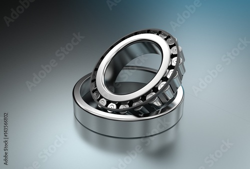 Photo 3D illustration of tapered roller bearings