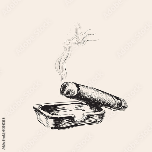 Photo Smoking Cigar With Ashtray