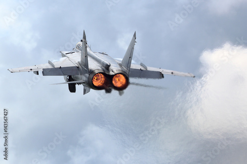 Photo MiG-31BM RF-92379 jet fighter takes off at air force base