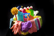 Cleaning supplies and tools in basket