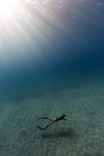 Woman Snorkeler By Sea Bed