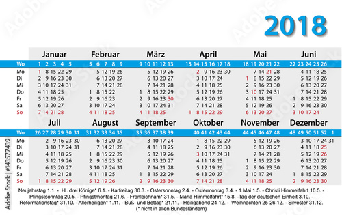 Fototapeta Kalender 2018 Visitenkartenformat Vorlage