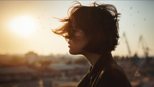 Melancholic Beautiful Portrait Profile. Young Girl, Autumn Mood, Birds In The City Sky. The Port Is Abrasive Against The Background. Romantic Affecting Mood