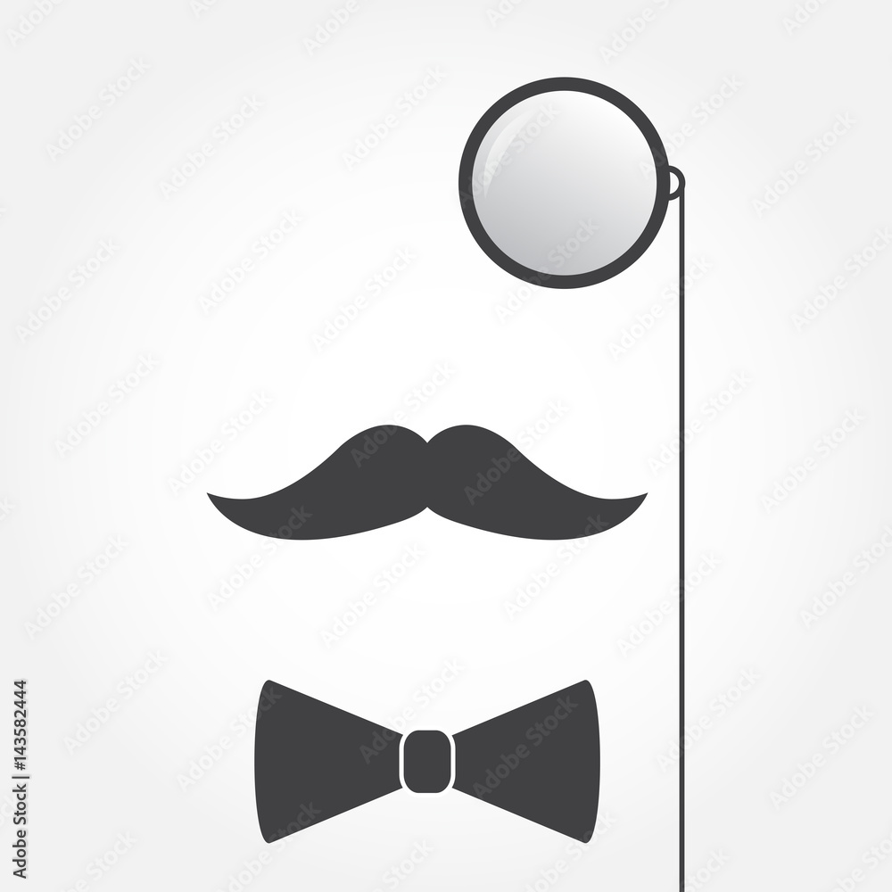 Fototapeta Monocle or eyeglasses, mustache and bow tie. Old fashioned gentleman accessories icon. Vintage or hipster style. Vector illustration.